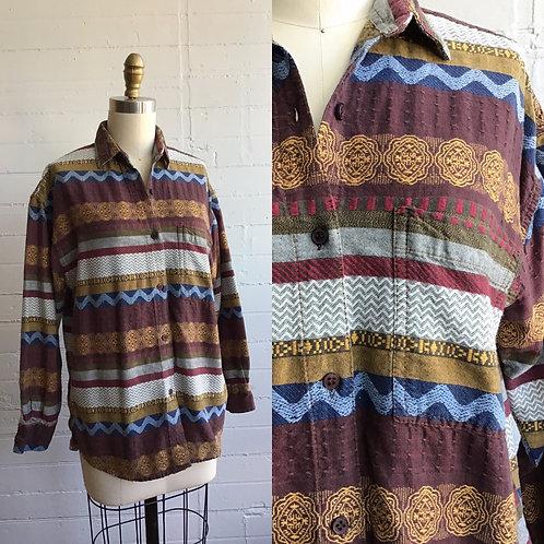 1980s Funky Striped Cotton Shirt - Medium Large
