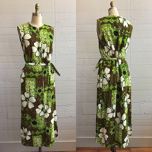 1960s Hawaiian Barkcloth House Dress Maxi - Large