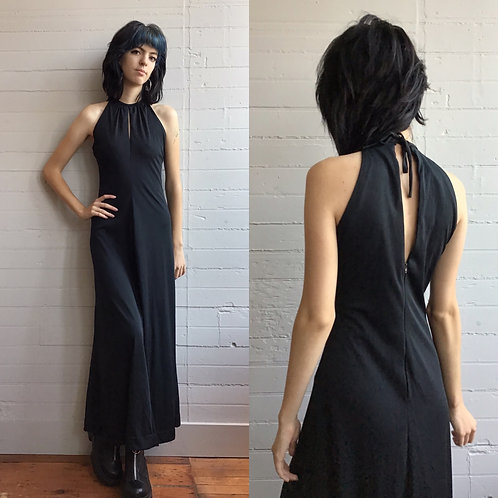 1970s Black Sleeveless Maxi Dress - Small / Medium