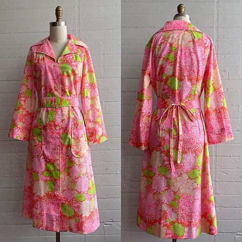 1970s Pink Floral Button Up Dress - Medium