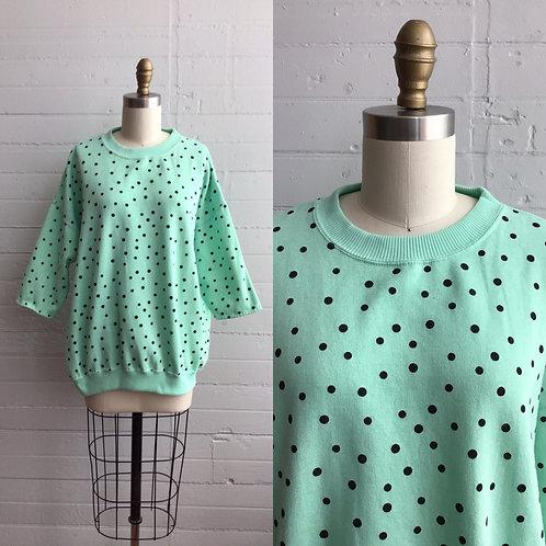 1980s Green Polka Dot Sweatshirt - Xlarge