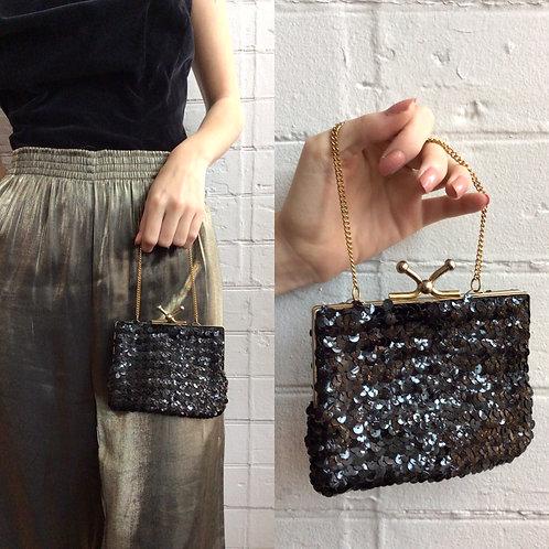 Vintage Black Sequin Handbag