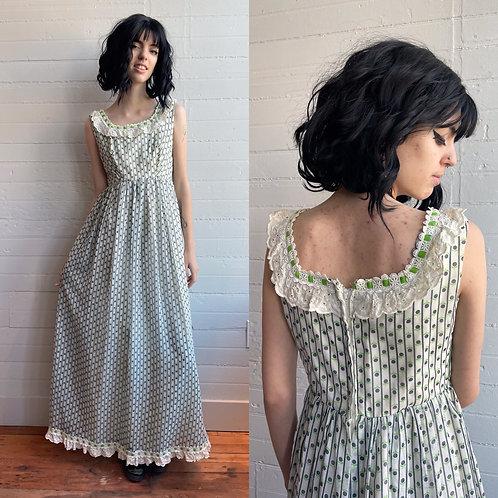 1970s Empire Waist Floral Dress - XS / Small