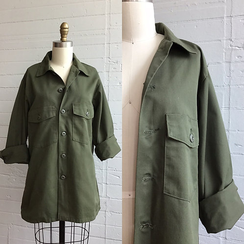 1990s Army Green Over Shirt - Medium / Large