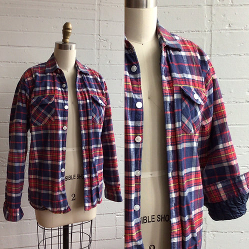 1980s Quilted Plaid Flannel - Size Small