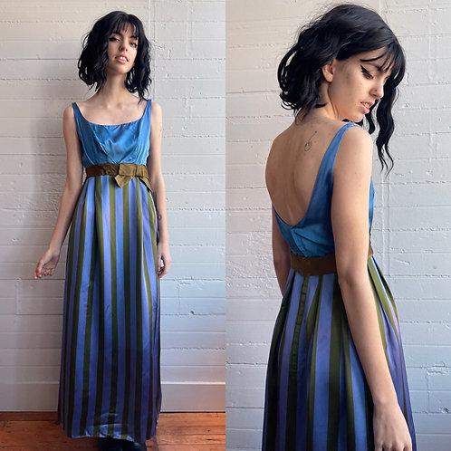 1970s Satin Striped Maxi Dress - XS