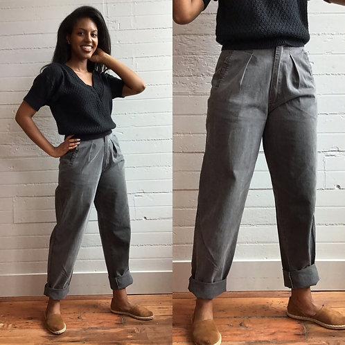 1980s Gray High Rise Pants - Small