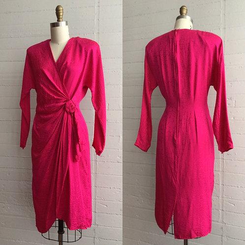 1980s Hot Pink Silk Dress - Medium