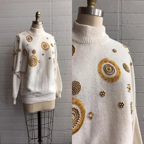 1980s Cream Holiday Sweater with Gold Beading - Medium