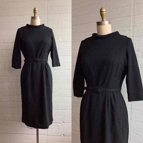 1960s Black Mod Wiggle Dress - Small