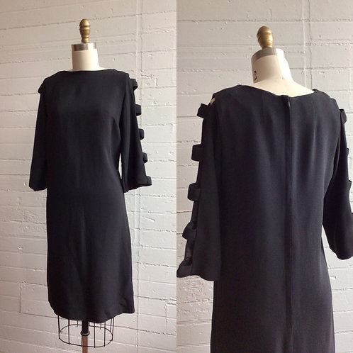 1960s Black Shift Dress with Cutout Sleeves - Medium