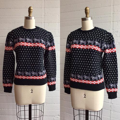 1980s Dog Knit Sweater - Small / Medium