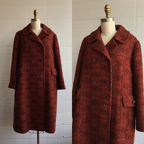 1960s Rust Red and Black Double Breasted Jacket - Medium / Large