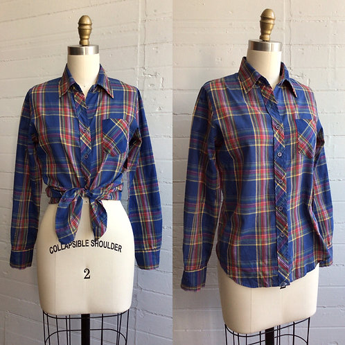 1980s Blue Plaid Blouse with Gold - Small