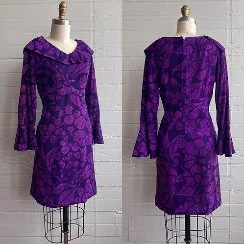1960s Purple Mini Dress - Small