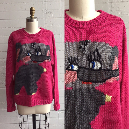1980s Pink Elephant Sweater - Large