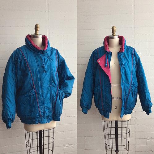 1980s Blue Teal Ski Jacket -  Medium