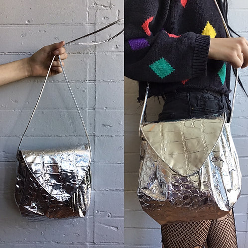 1980s Silver Snake Skin Bag