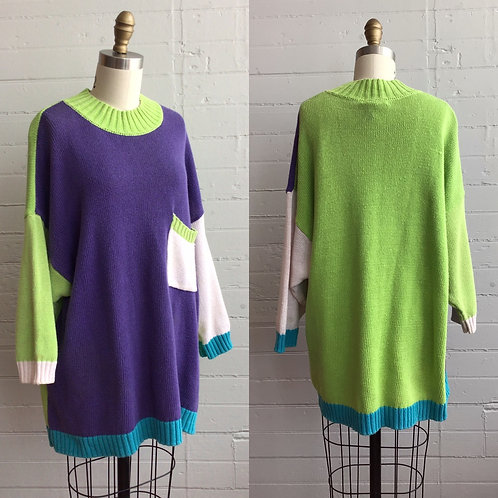 1980s Color Block Oversized Sweater - Large