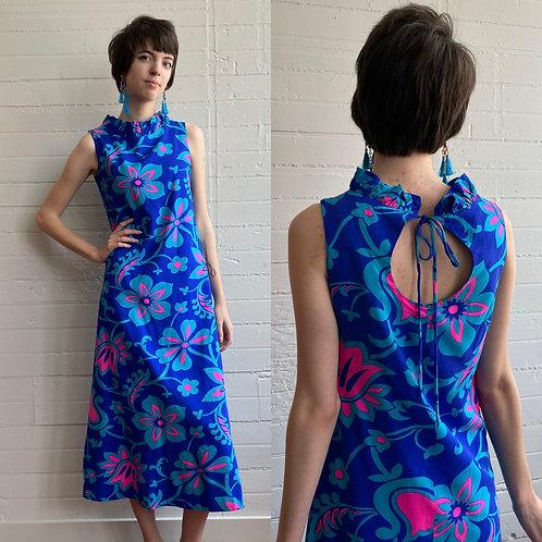 1970s Blue Floral Hawaiian Maxi Dress - XXS / XSmall