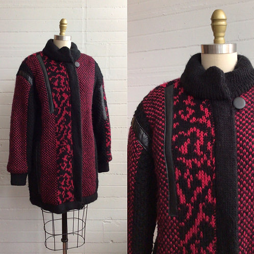 1980s Hot Pink and Black Sweater Jacket - Large