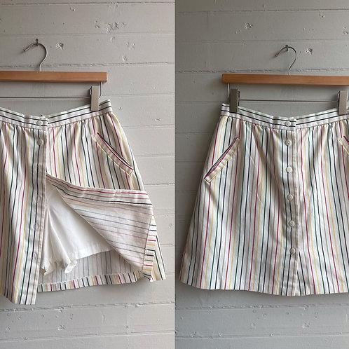 1980s Rainbow Stripe Mini Skort - Medium / Large