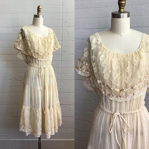1970s Bohemian Young Edwardian Cotton Dress - Medium / Large