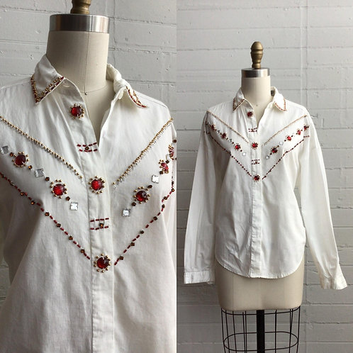 1980s Bedazzled Blouse - XLarge