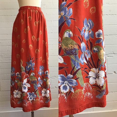 1980s Bird Maxi Skirt -Medium
