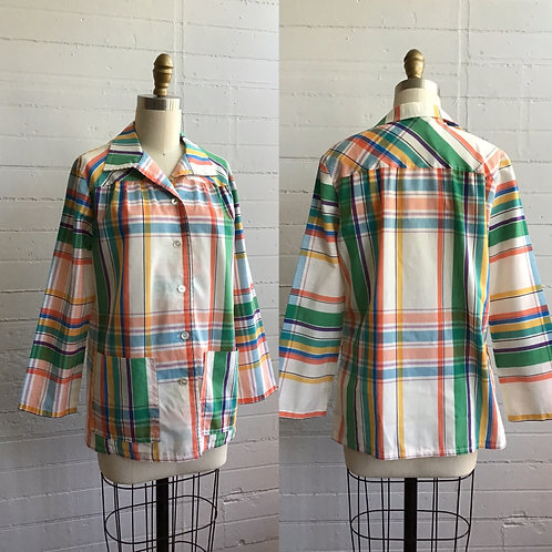 1970s Rainbow Plaid Buttondown - Medium