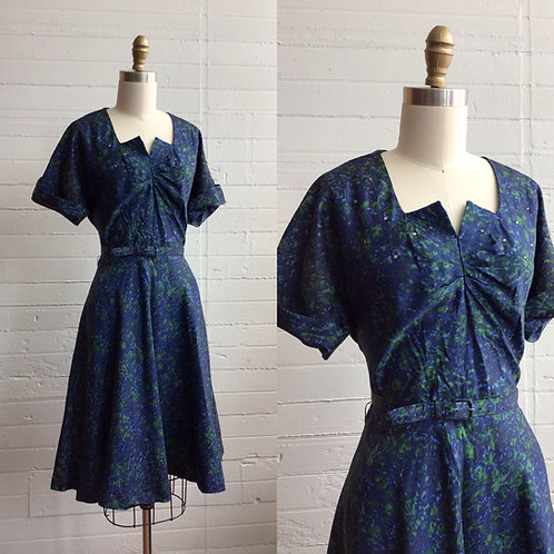 1950s Blue Green A Line Dress with Rhinestones - Medium / Large