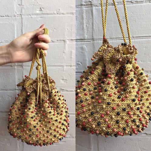 1960s Gold Beaded Bucket Bag