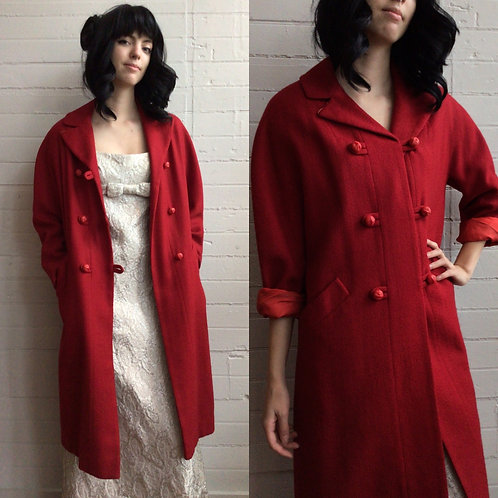 1950s Red Dress Coat - Small / Medium