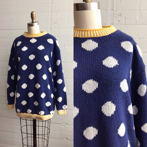 1980s Navy Polka Dot Sweater - Large