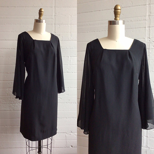 1960s Black Cocktail Dress with Sheer Sleeves - Medium / Large