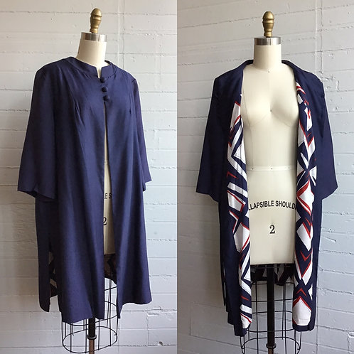 1950s Navy Silk Light Jacket with Funky Lining - Small to Large