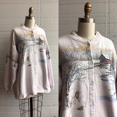 1980s Winter Scene Sweat Shirt - XLarge