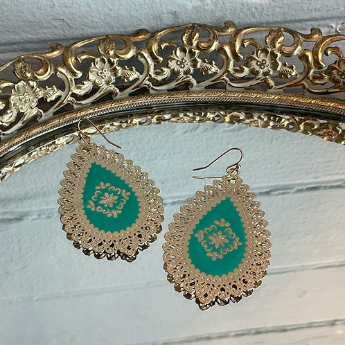 Light Gold and Teal Earrings