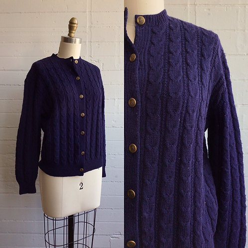 1960s Navy Blue Cable Knit Cardigan - Medium