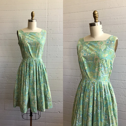 1950s Paisley Cotton Day Dress - XSmall