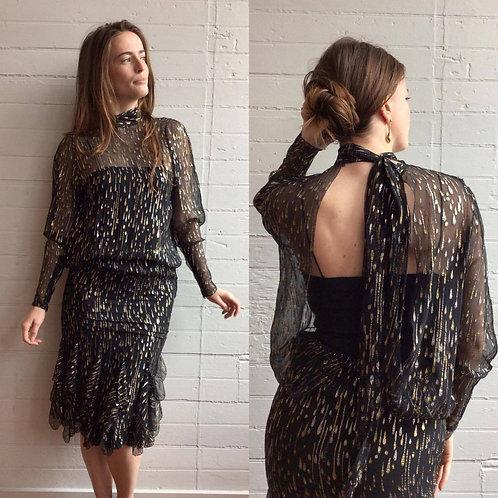 1960s / 70s Silk Lurex Raindrop Dress - Small
