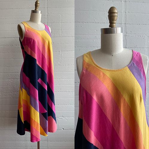 1970s Rainbow Tent Dress - Medium