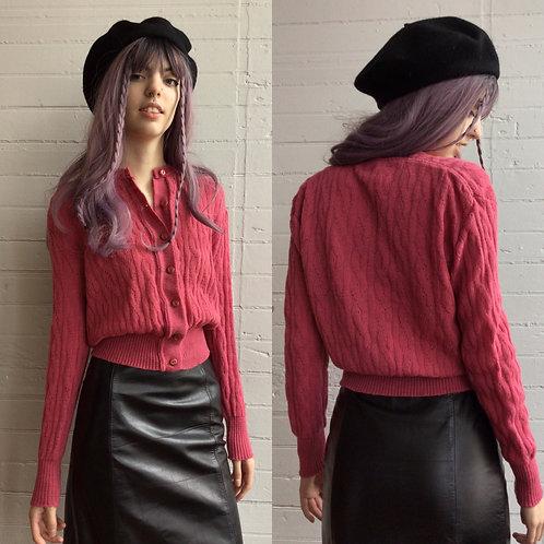 1950s Dusty Rose Wool Cardigan - Small