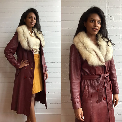 1970s Leather Jacket with Fur Trim - Small / Medium