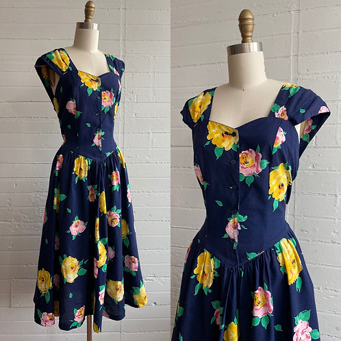 1980s does 50s Floral Dress - Large