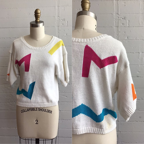 1980s Funky Short Sleeve Sweater - Medium / Large