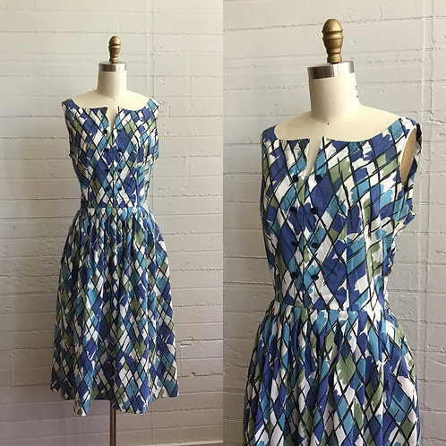 1950s Harlequin Print Blue Day Dress - Medium