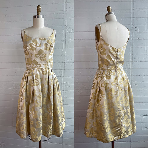 1960s Gold Floral New Look Dress - Small