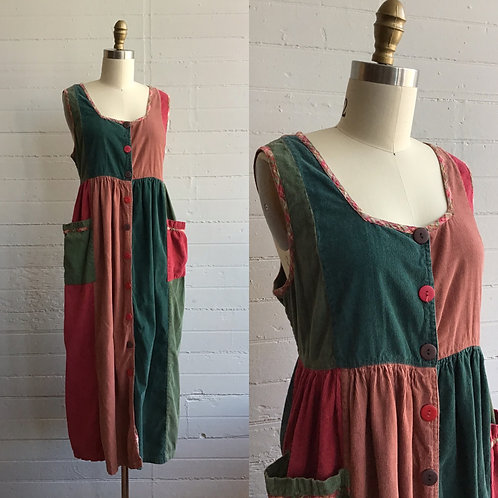 1990s April Cornell Corduroy Color Block Dress - Medium