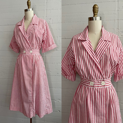 1980s Red and White Candy Striper Dress - Small